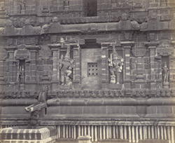 Tanjore Pagoda. The great pyramidal tower. Facade of base on north side.